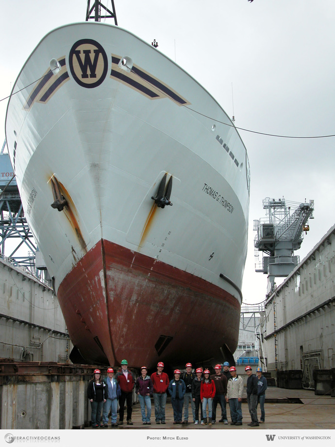 The Thompson and UW team at the dry dock