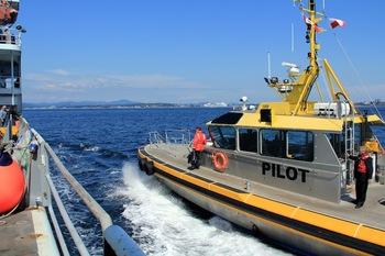 Pilot comes aboard in Victoria